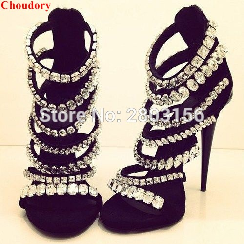 Newest Bling Bling Crystal Gladiator Sandals Rhinestone Sandals Sexy Open Toe High Heels Sandals newest design stylish wedge sandals bling bling multicolor rhinestone decoration celebrities style concise peep toe party shoes