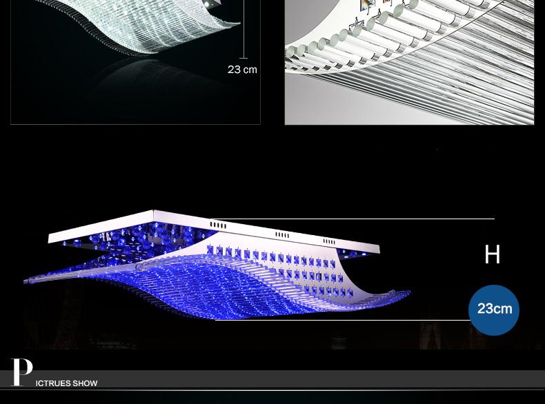 Luxury 4 Color Smooth Sailing Led Lamp K9 Crystal Modern Square Led Ceiling Lights (3)