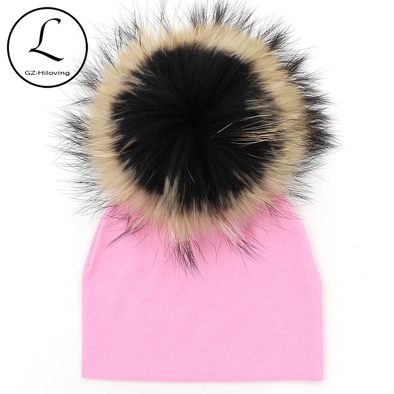 GZHILOVINGL 2017 New Cotton Newborn Beanies Hats Winter Ins Baby Kids Boys Girls Autumn Real Fur Pompom Solid Color Beanie Hat gzhilovingl 6 month 2 years new fashion baby kids beanie for boys girls cotton skullies beanies hat with real big fur pom pom