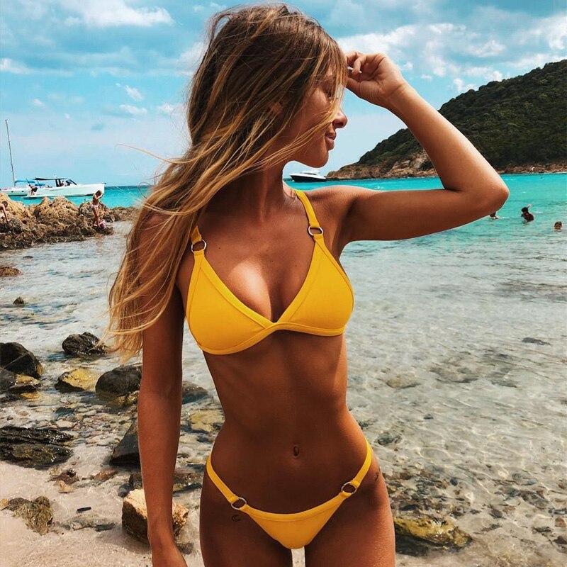 Solid Bikini Push Up Swimsuit Women Striped Two Piece Swimwear Women Backless High Waist Bathing Suit Women Beach Wear Bikini