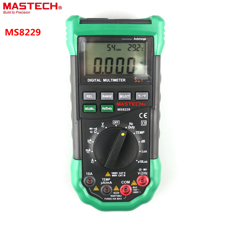 MASTECH MS8229 Digital Multimeter with Environment Multi Tester Temperature Humidity Voice Lux Meter Monitor Overload Protection