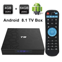 TV Box T9 Android 8.1 Bluetooth Rockchip RK3328 4GB RAM 32GB 64GB 4K Google Player Support 2.4GHz WiFi HD Smart Set top box