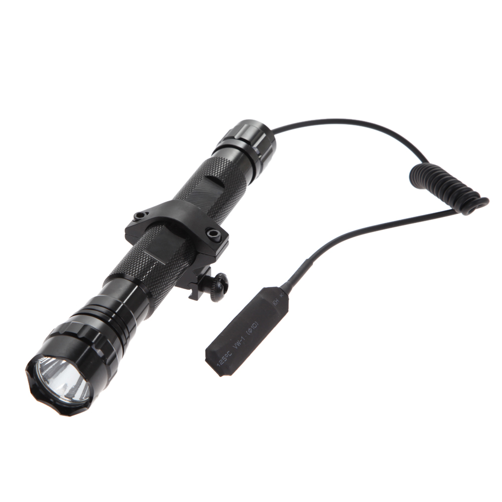 New T6 Tactical Gun Led Flashlight Torch+Rifle Mount Gun+Remote Switch Flashlight Torch Outdoor Lamp Light 502d led tactical gun flashlight handgun torch light lamp hunting torch remote switch gun mount