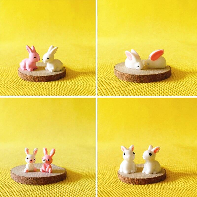 2 Pcs Cute Bunny Rabbit Miniatures Lovely Gnome Moss Terrarium Decor Crafts Bonsai DIY Figurine Terrarium Fairy Garden Supplies