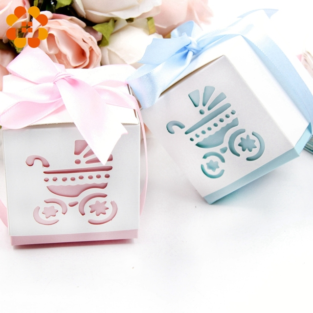 6pcs Candy Box Sweet Baby Carriage Blue Pink Diy Paper Gift Boxes Decor Kids Birthday Party Decoration Baby Shower Supplies In Gift Bags Wrapping