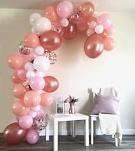 METABLE 100 Balloons, 5 Colors, Pink, Blush, Rose Gold, Gold Confetti Balloons White, Glue Dots, For Wedding,Baby Shower