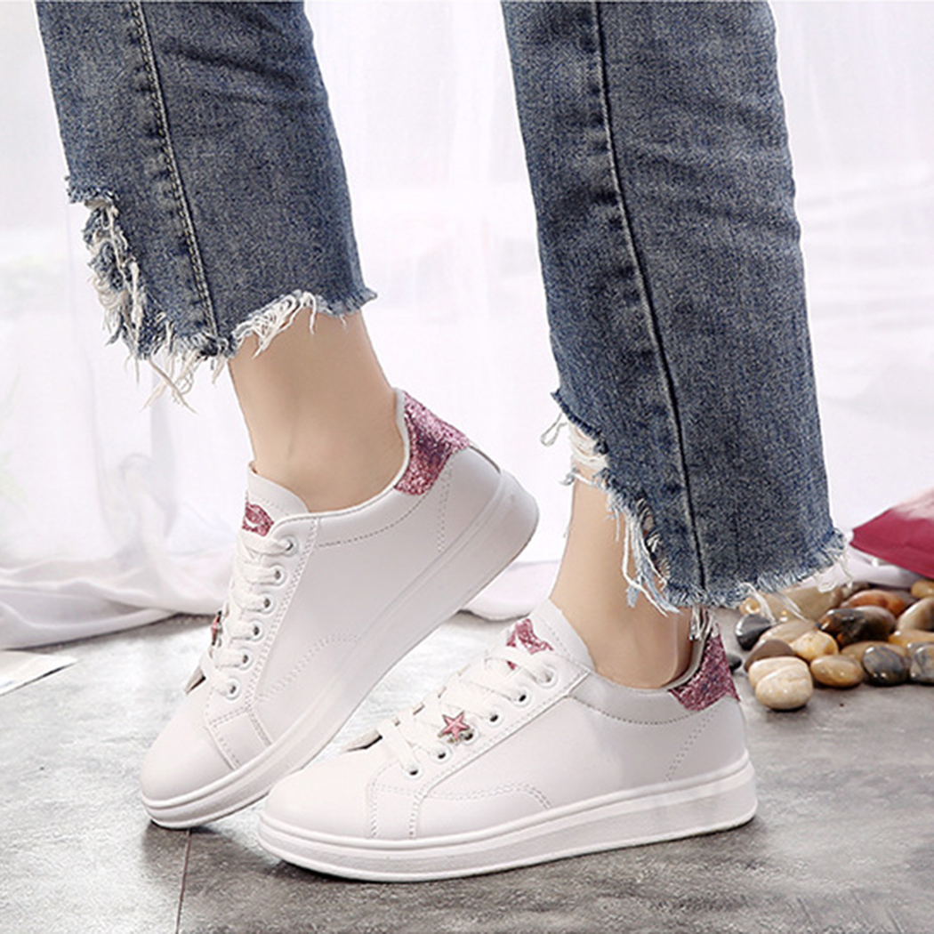 2018 Female PU Leather Shoes Women Casual White Shoes Sewing Lips Lace Up Fashion Ladies Woman Vulcanize Sneaker Shoes