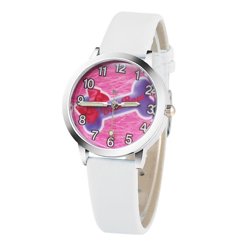 Hot 7 Color Cartoon Bow Cute Girls Love Children Watch Fashion High Quality Leather Strap Wristwatch Casual Girls Boys Clock