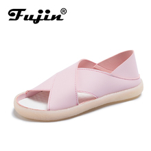 Fujin Sandals Flat Women Ladies Shoes PU White  Rubber Solid Classics Summer Slip-On Casual