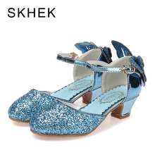 SKHEK Kids Shoes Brand Summer Girls Bowknot Princess Sandals Children Closed toe Dress Blue Pink whiteB511-2
