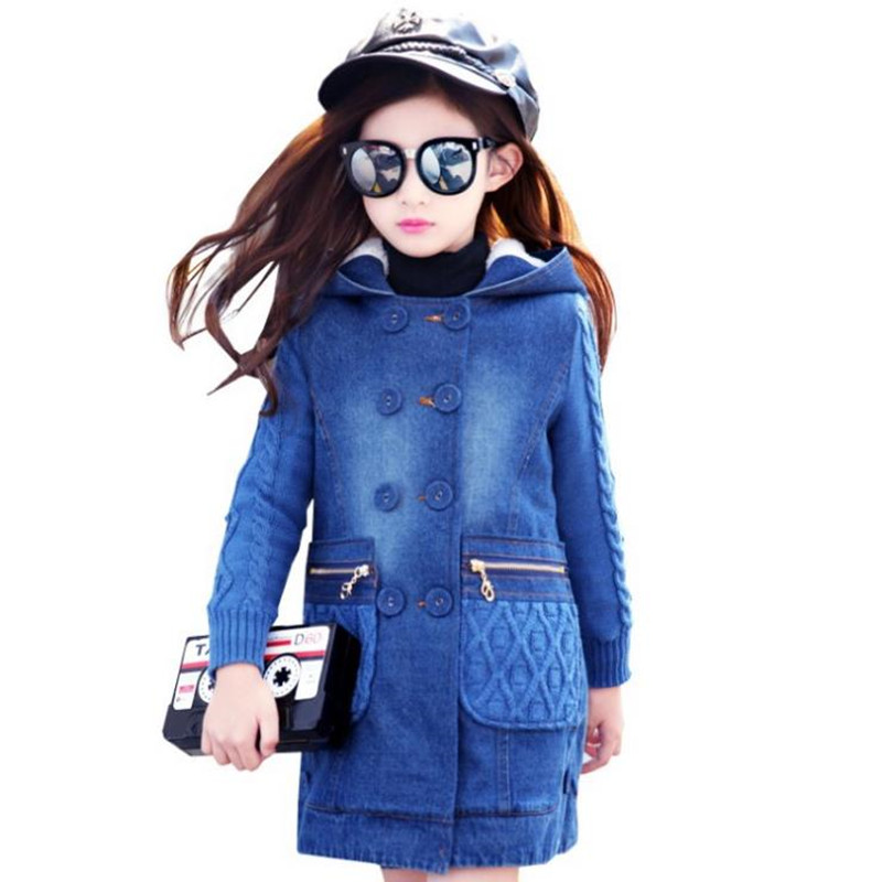 2018 children Windproof Jacket Teenager Denim Coat Baby Girls Autumn Double Breasted Outerwear Kids patchwork Long Sweater