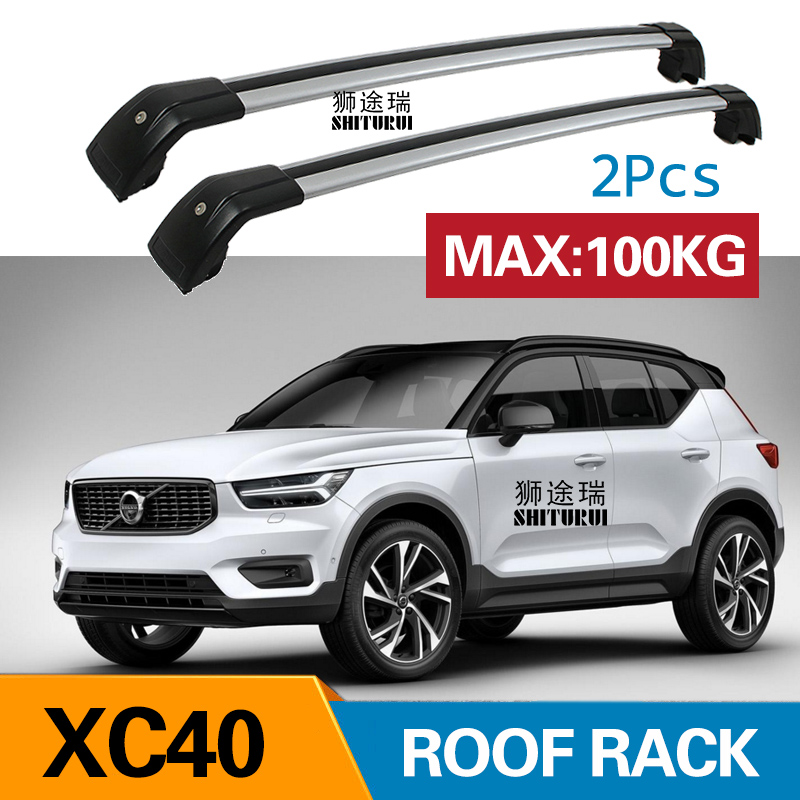 SHITURUI 2Pcs Roof bars For Volvo XC40 2018+ Aluminum Alloy Side Bars Cross Rails Roof Rack Luggage Carrier shiturui for skoda fabia ultra quiet truck roof bar car special aluminum alloy belt lock