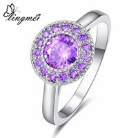 lingmei 2017 New Round Sparkling Purple Cubic Zirconia Silver Color Ring Size 6 7 8 9 Elegant Luxury Women Jewelry Parrty Gift