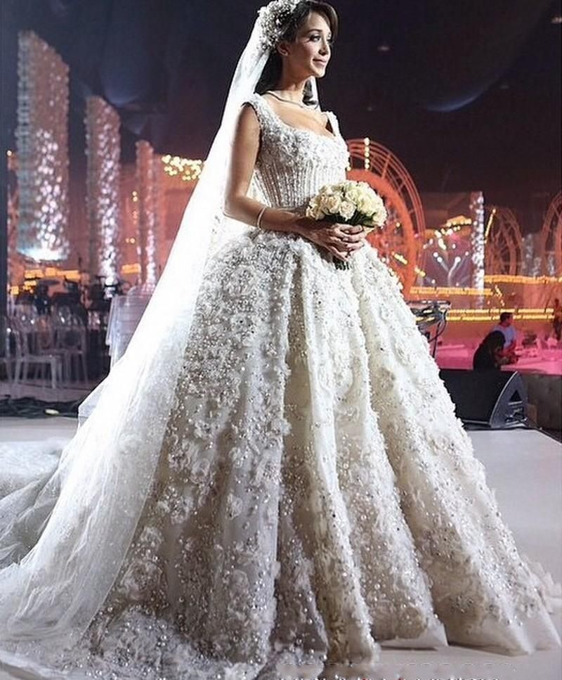 Glamorous As Star Ball Gown Wedding Dresses Pearls Hand Made Flowers Bead Square Neck Cathedral Train Bridal Gowns 2016 W120407 In From