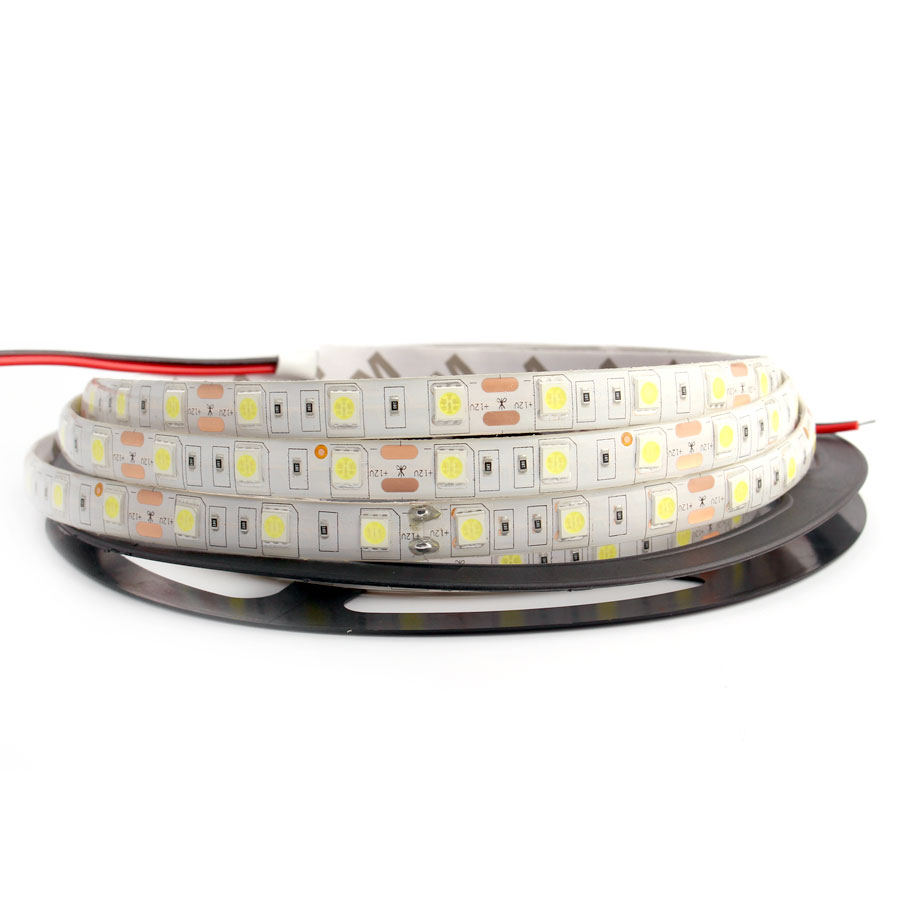 12V 5M Led Strip neon light SMD 5050 RGB LEDStrip Cinta impermeable Flexible 300LED DC 12 V Lámpara de cinta blanca cálida para decoración