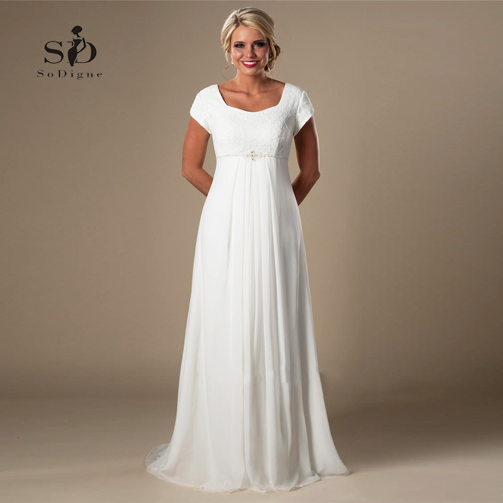 US $70.95 33% OFF|Plus size Wedding Dress Lace Informal Lvory Beach  Pregnant Bridal Dress 2018 Short Sleeves Beaded Chiffon Empire Fast  shipping-in ...