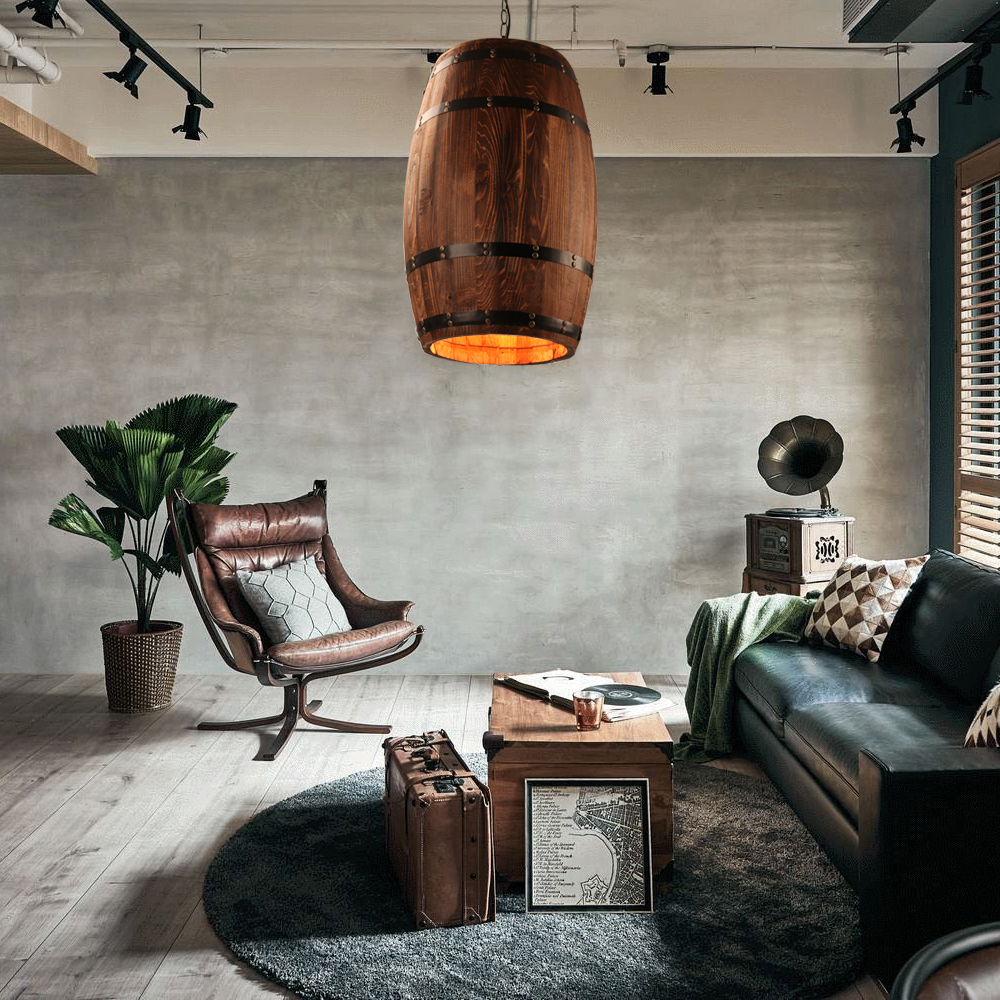 American modern nature loft wood Wine barrel E27 hanging vintage pendant lights for dining room living room restaurant cafe bar