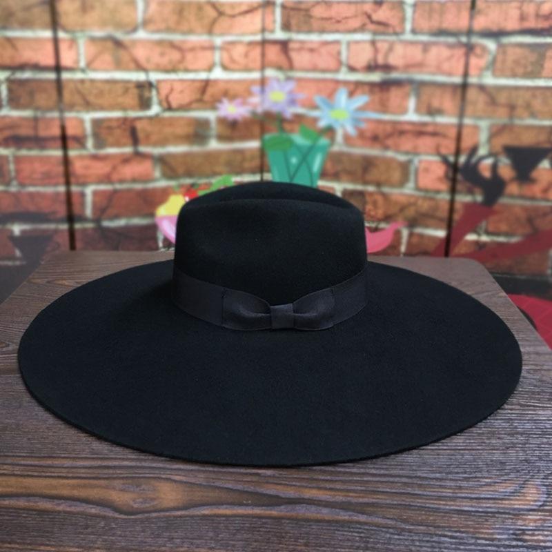 Women 16cm Large Wide Brim Wool Felt Hat Chic Floppy Warm Winter Trilby Hat Ribbon Bowknot Church Dress Wedding Fedora Jazz Hat