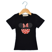 short mickey t-shirts girl shirts cartoon tees ruffle sleeve tshirts girlCotton short sleeve kids t shirts, mickey pattern,girl