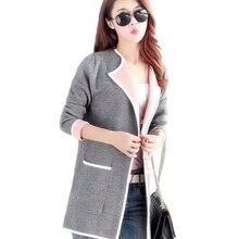 Новые осенние Для женщин длинный свитер Мода 2016 года кардиган длинный рукав тонкий вязаный кардиган SW174