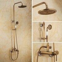 Bathroom Antique Shower Set Faucet Brass Mixer Tap Dual Handles Ceramic Carved Rainfall Shower Set Faucet