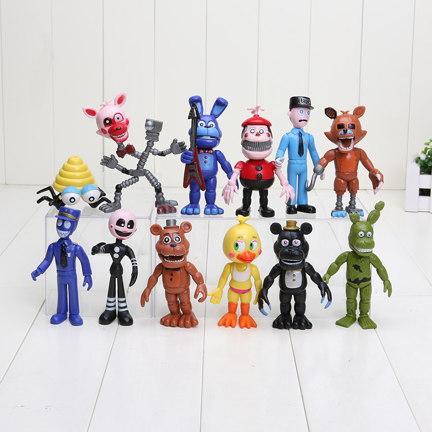 12Pcs/Set 5-11.5cm Five Nights At Freddy's figure FNAF Chica Bonnie Foxy Freddy Fazbear Bear Doll PVC Action Figures Toy цена 2017
