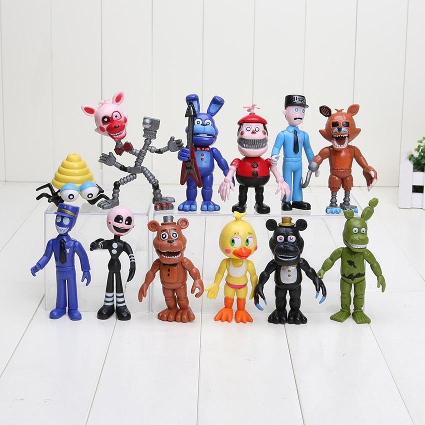 12Pcs/Set 5-11.5cm Five Nights At Freddy's Figure FNAF Chica Bonnie Foxy Freddy Fazbear Bear Doll PVC Action Figures Toy