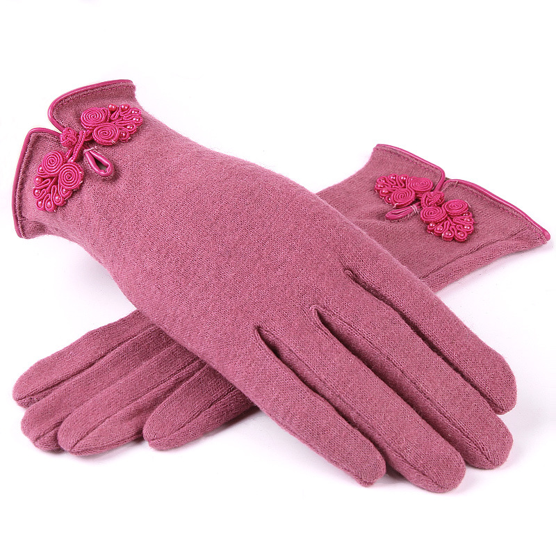 2017 High Quality Chinese Knot Wool Women's Gloves Women Winter Warm Soft Frabic Female Mittens New Fashion Gloves
