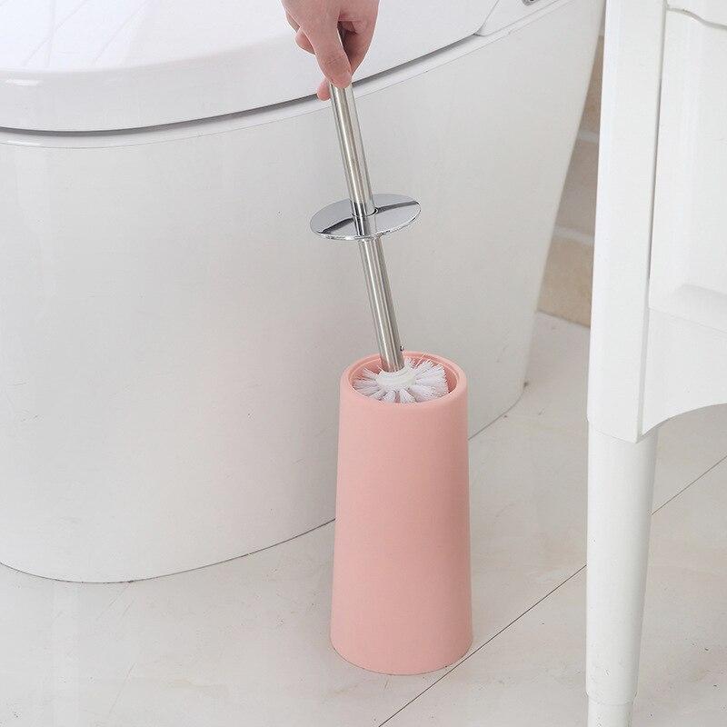 Aço inoxidável banheiro escova de vaso sanitário kit limpeza casa hotel banheiro titular copo plástico alça reta ângulo escova
