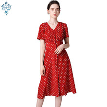 Ameision summer womens red polka dot sexy v neck vintage maxi dress mid elegant chiffon short sleeve women long dresses 2019
