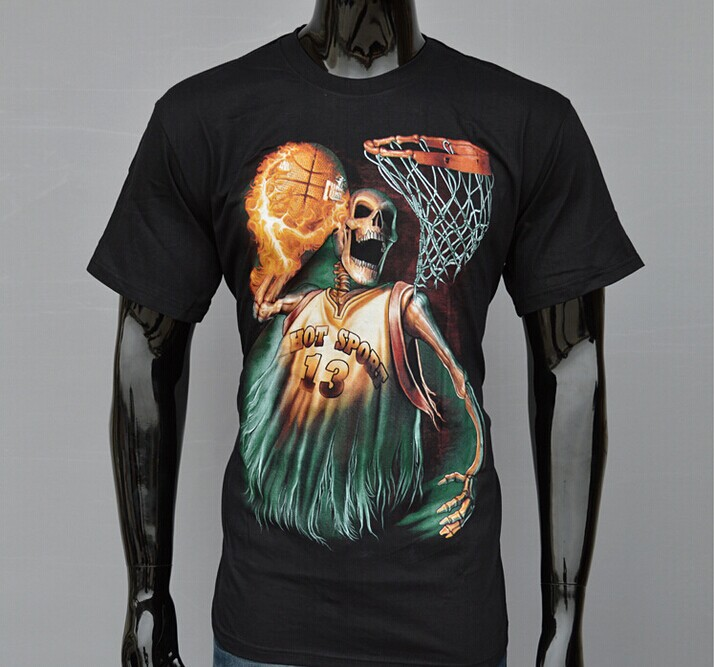 Hot Sport 13 Style Black T-shirt 3D Skull Printed Fire Basketball Skeletons  Dunks Short Sleeves Tops Tees Women Men Clothing f159f1b1c6