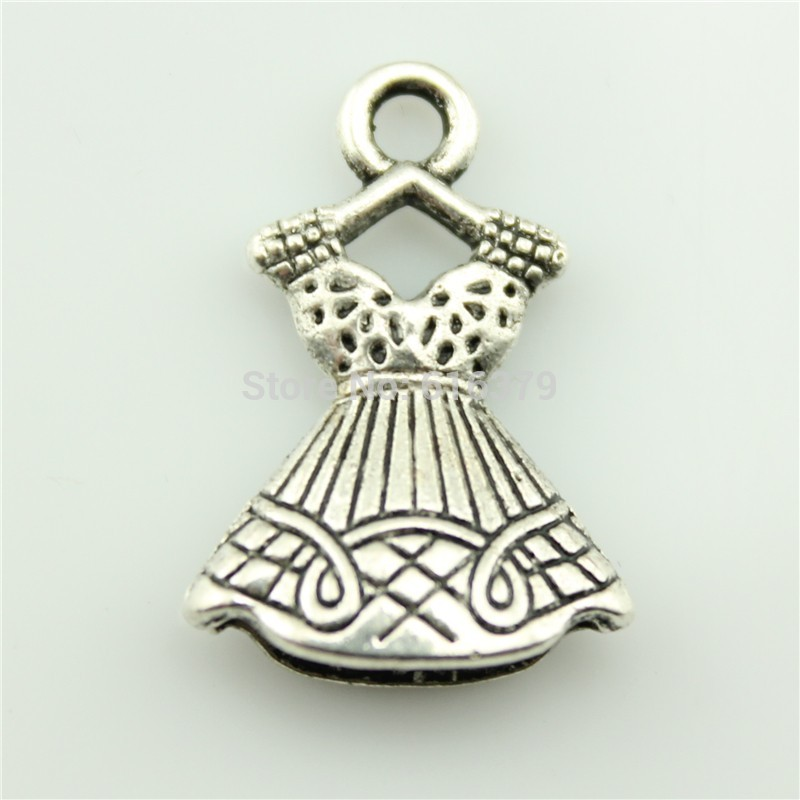 free shipping 40pcs 22*15mm antique silver evening dress pendant charms jewelry findings