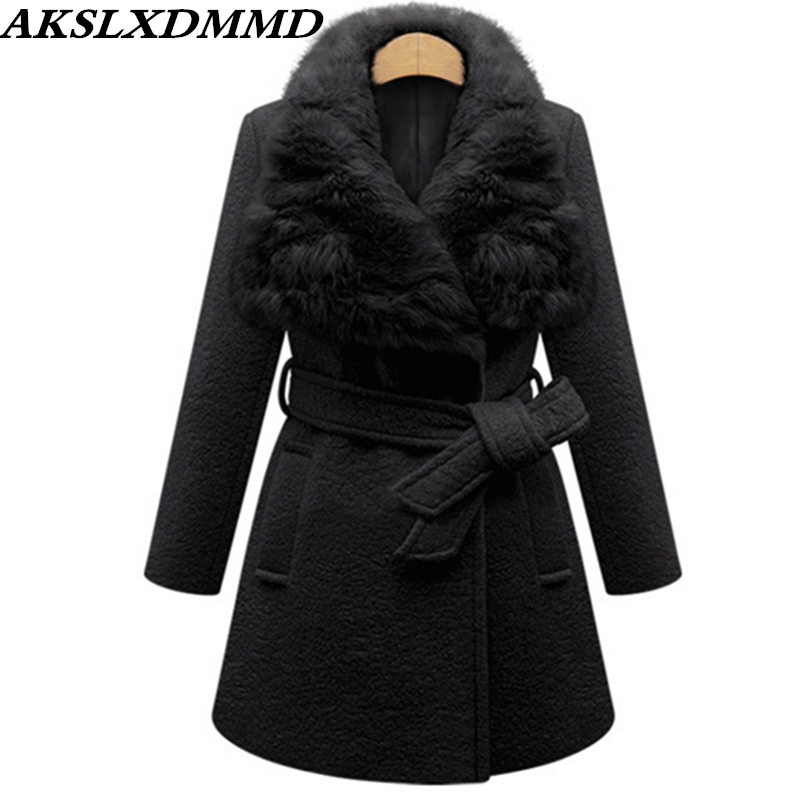 2019 New Autumn Winter Women Woolen Coat Warm Large Size Fur Collar Women Coat Solid Fashion Wool Jacket Mid length Outer CW172