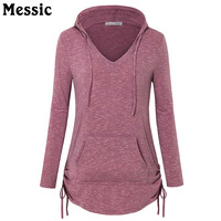 Messic Casual Hooded Long Sleeve Knitted T Shirt Women Curved Hem Female T Shirt Tops 2017