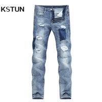 KSTUN Homens Jeans Verão Luz Fina Azul Trecho Motociclista Magro Rasgado Jeans Macho Calças Slim Perna Cônico Rasgado Calças Jeans Hip Hop