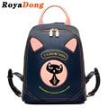 Royadong mochilas das mulheres 2017 gato bonito sacos de escola para adolescentes meninas mochilas de couro pu para as mulheres