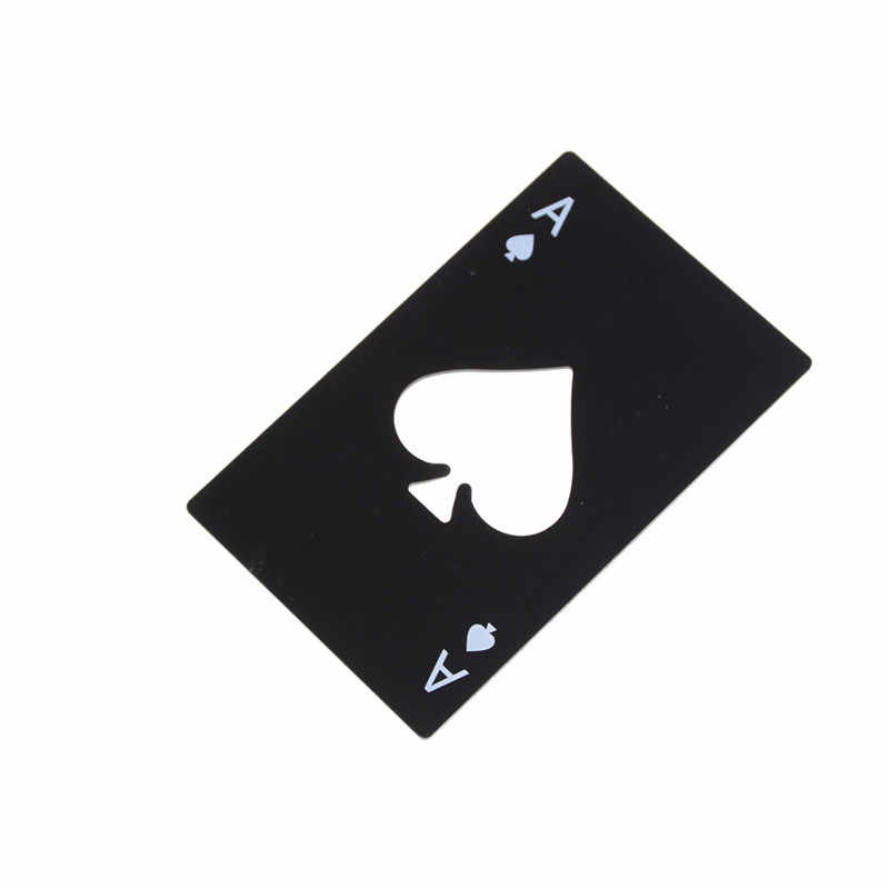 1Pcs Creative Poker Card Beer Bottle Opener Stainless Steel Credit Card Size  Spades Poker Opener
