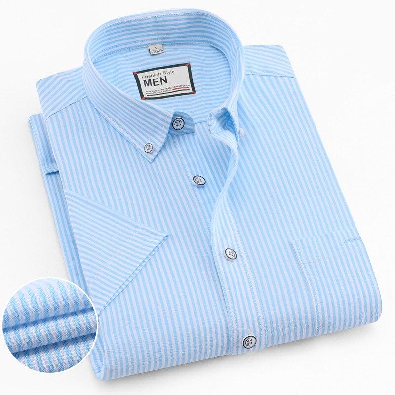 100% Baumwolle Vertikale Gestreiftes Hemd Männer Marke Luxus Kurzarm Regular Fit Foraml Büro Smart Casual Taste Männlichen Sozialen Shirt Dauerhafte Modellierung