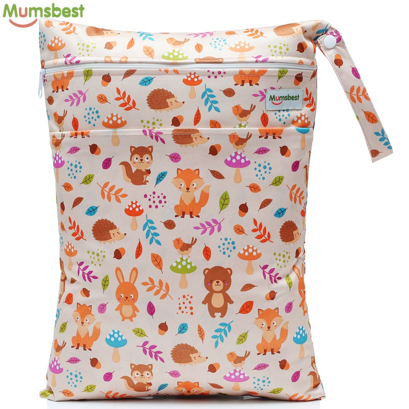[Mumsbest] 2019 New Wet Bag Washable Reusable Cloth Diaper Nappies Bags Waterproof Swim Sport Travel Carry Bag Big Size:40X30cm