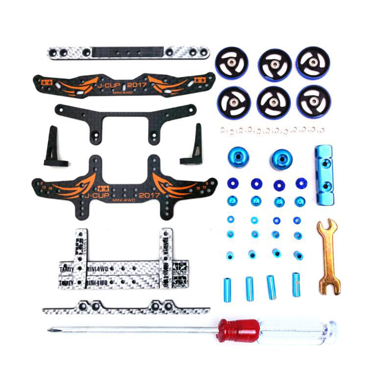 MS Chassis Upgrade Parts Set 2017 Version Carbon Fiber Plates Guide Rollers Damper Bearing Kit for Tamiya Mini 4WD Car Model ms msl chassis modify parts set for 1 32 tamiya mini 4wd racing car model carbon fiber plates aluminum guider rollers