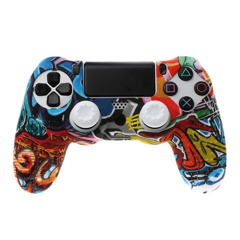 Anti Slip White Silicone Case Cover W/grip Cap For Playstation Ps4 Controller In Many Styles