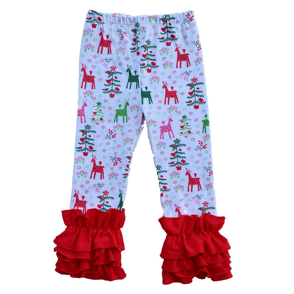 Christmas Girls Icing Ruffle Leggings,Icings Persnickety -5323