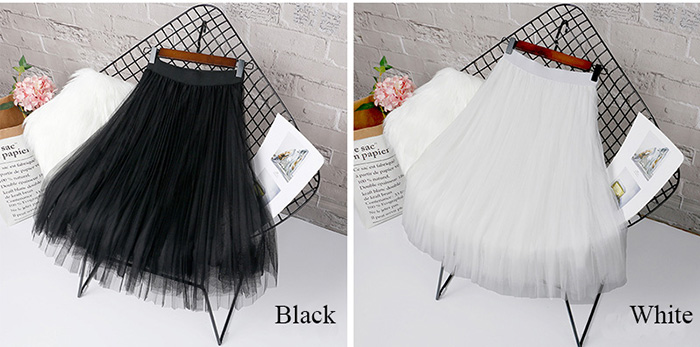 HTB1KVPPLCzqK1RjSZFjq6zlCFXaM - Tulle Skirts Womens Midi Pleated Skirt Black Pink Tulle Skirt Women Spring Summer Korean Elastic High Waist Mesh Tutu Skirt