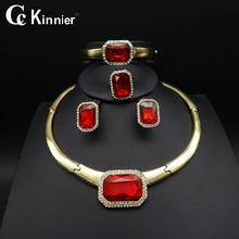 Fashion African of women wedding jewelry sets Bridal Dubai White Gold beads exaggerate red Necklace Bangle tassel earrings ring