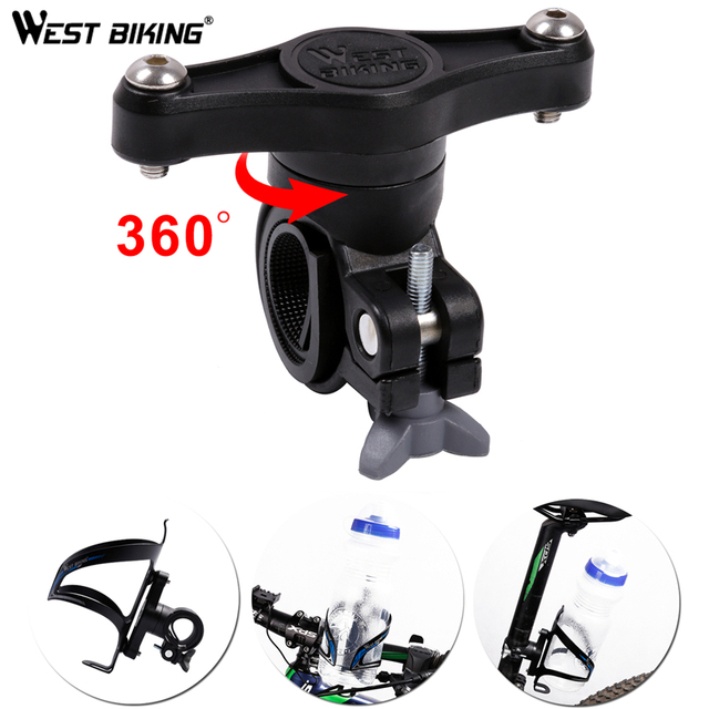 WEST BIKING Bicycle Kettle Extension Holder 360 Degree Rotatable Water Bottle Cage Adapter For Bike Handlebar Saddle Seatpost