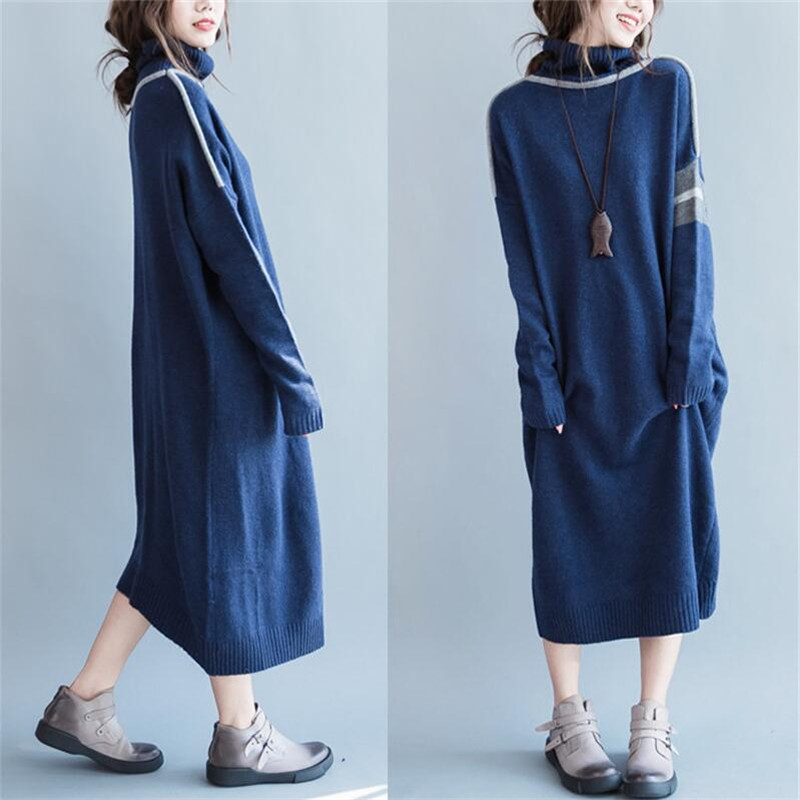 Warm Turtleneck Long Sweater Dress 2019 Fashion New Casual Loose Solid Winter Dress Ladies Autumn Full Sleeves Oversized Dress High Quality And Inexpensive Dresses