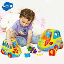 HOLA 896 Learning Educational Toys Car Cartoon Child Funny Bus Playing Matching Game Toy With Music/Light/Cubic Block Kids Toy(China)