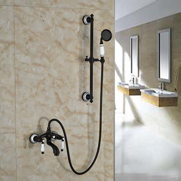 Oil Rubbed Bronze Bathroom Tub Faucet Solid Brass Hand Held Shower Sprayer  With Slide Bar Mixer Tap In Shower Faucets From Home Improvement On ...