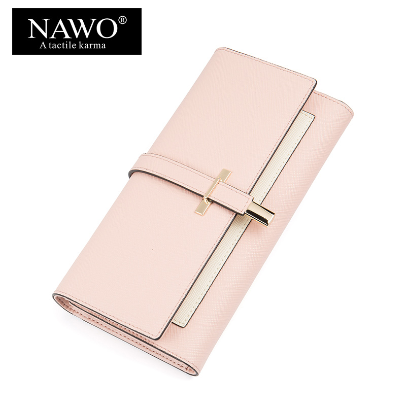 NAWO New Split Leather Women Wallets Long Coin Purse Card Holder Wallet Female Hasp Clasp Purse Clutch Money Wallet For Women women leather wallets v letter design long clutches coin purse card holder female fashion clutch wallet bolsos mujer brand