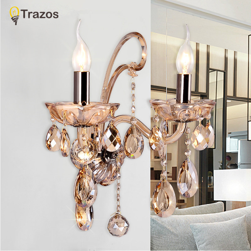 Luxury Wall Sconce Lighting European-style wall lights mirror front lamp bedside lamp crystal lamp Wall lamp bedroom modern wall lamp sconce lighting red wine wall lights front lamp bedside lamp crystal sconce lights home lighting living room